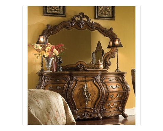AICO Furniture - Palais Royale Triple Dresser and Mirror Set in Rococo Cognac - - Set Includes Triple Dresser And Mirror
