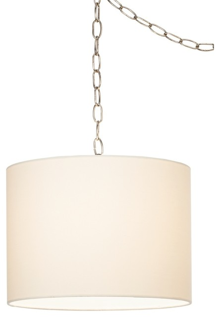 Contemporary White Swag Style Plug In Chandelier