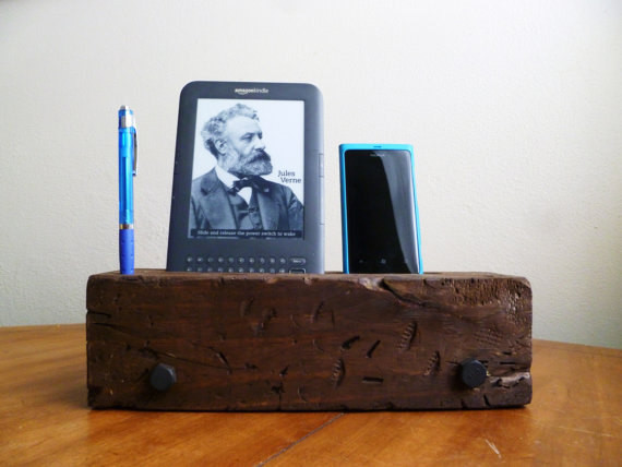 Barn Wood iPhone Dock Charging Station by J Rustic Furniture - Rustic - Charging Stations - by Etsy