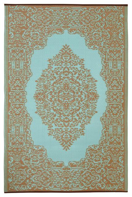 Indoor/Outdoor Istanbul Rug, Fair Aqua & Warm Taupe, 6x9 mediterranean-outdoor-rugs
