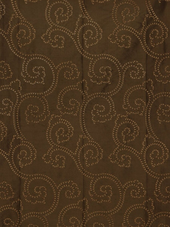Brown Custom Made Embroidered Dupioni Silk Curtains - The artistry and craftsmanship that created these beautiful panels are truly remarkable. Scroll damask patterns are embroidered delicately and in great details to make the curtains look fabulous.