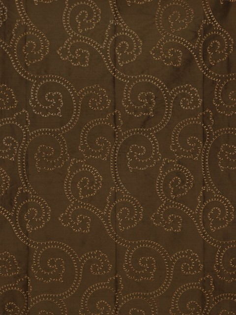 Brown Custom Made Embroidered Dupioni Silk Curtains modern-window-treatments