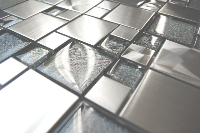 Eden Mosaic Tile Modern Cobble Stainless Steel With Silver Glass Tile Contemporary Tile By