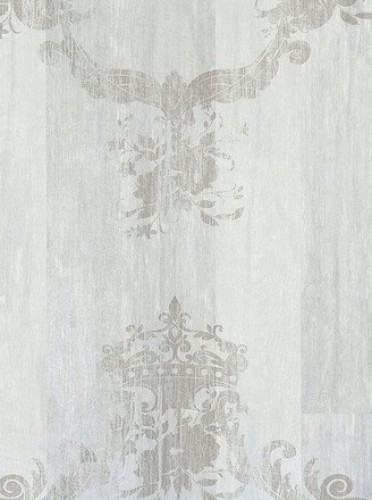 White Silver Damask Serenity Wallpaper - Double Roll contemporary-wallpaper