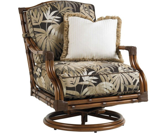 Lexington - Tommy Bahama Island Estate Veranda Swivel Lounge Chair - The gentle swivel action means this seat will have special preference for family or guest alike. The cushion set includes one 18x18 inch weather guard throw pillow ideal for adding color and style, while proving comfortable and ideal for the elements.