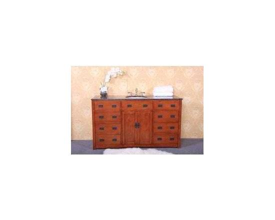 "KCK Bath Vanities - Sink Chests & Cabinets - WP5433-S-60 60"" Single Sink Dark Oak Vanity with Soft Close Doors - 60"" Single sink dark oak vanity with soft close doors - No faucet."