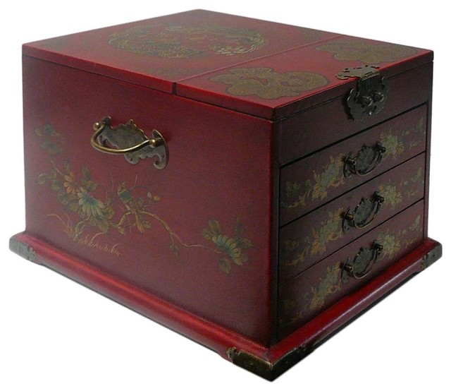 Chinese Red Phoenix Dragon Mirror Jewelry Box - Asian - Jewelry Boxes And Organizers - by Golden ...