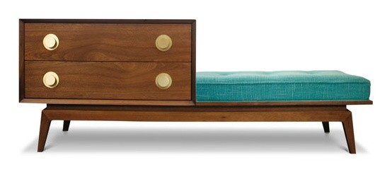 Jonathan Adler Claude Walnut Gossip Bench Set in New modern benches