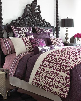 Natori Sumatra Bed Linens King Magenta Duvet Cover, 110 x 96 traditional-duvet-covers-and-duvet-sets