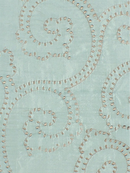 Blue Scroll Custom Made Embroidered Dupioni Silk Curtains - The artistry and craftsmanship that created these beautiful panels are truly remarkable. Scroll damask patterns are embroidered delicately and in great details to make the curtains look fabulous.