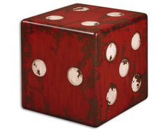 www.essentialsinside.com: dice accent table eclectic-home-decor