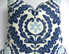 Designer Decorative Blue and White Suzani Outdoor Pillow Cover by Making Fabulou contemporary-decorative-pillows