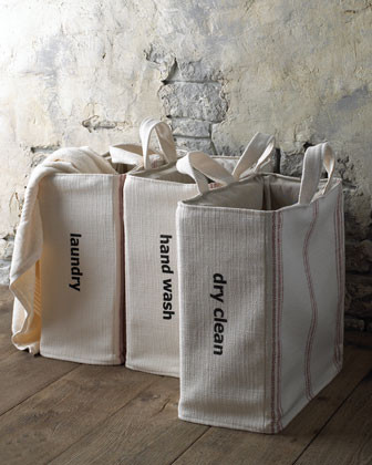 French Laundry Home Dry Clean Tote - Red Stripe traditional clothesline