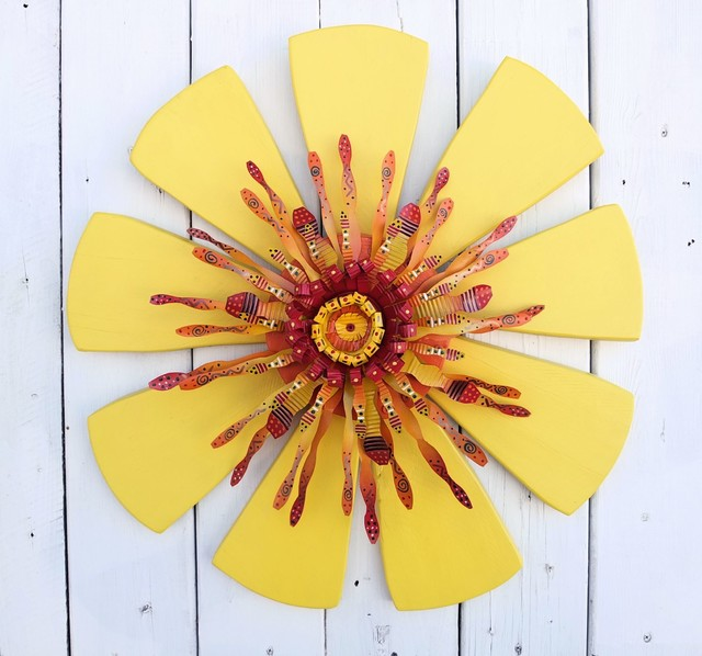 Yellow Sun Wall Decor : Outdoor wall art crafted from reclaimed wood metal