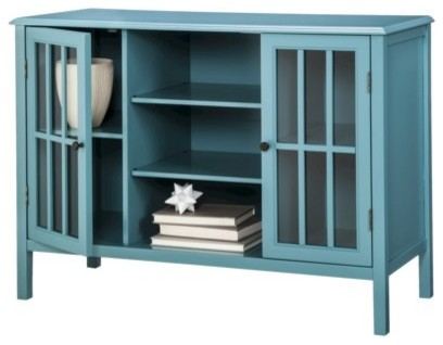 Threshold Windham 2-Door Cabinet with Center Shelves, Teal - Contemporary - Display And Wall ...