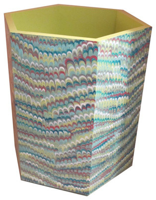 Hand Painted Wastebasket, Faux Marble Paper eclectic-wastebaskets