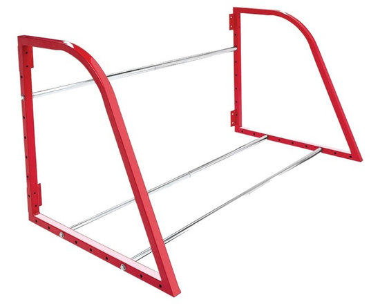 HyLoft - Tire Loft in Red - High grade steel hardware. Holds four tires and wheels. Two steel end frames attach directly to wall studs. Residential, commercial or trailer walls application. Warranty: Lifetime limited. Made from steel. Scratch resistant powder coat. Weight Capacity: 375 lbs.. Minimal assembly required. 48 in. W x 28.5 in. D x 28 in. H (29 lbs.). Assembly InstructionsThis is a great way to store those extra seasonal, recreational, racing or ATV tires and wheels.