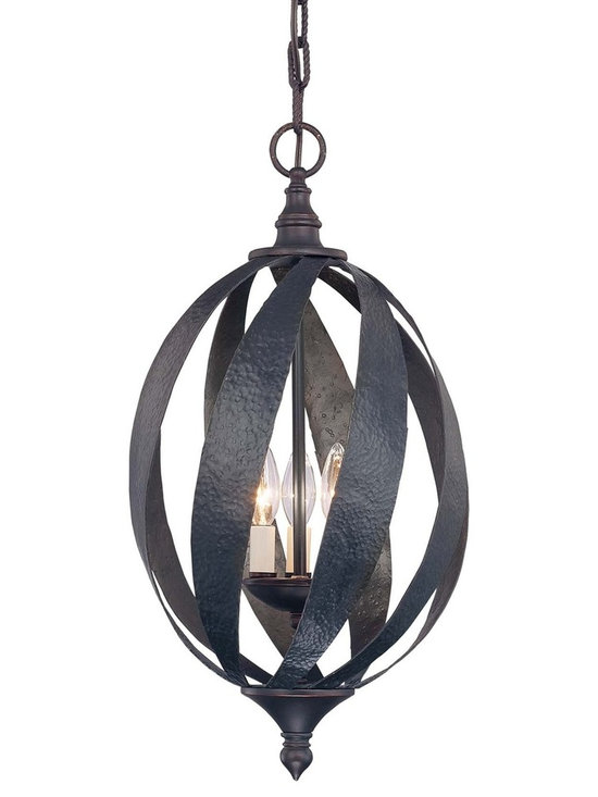 Savoy House - Carmel Open Foyer Pendant - This strong family from Karyl Pierce Paxton feature criss crossed wide iron strapping, hammered for a rustic appearance. Hand forged with quality craftsmanship and finished in Slate, Carmel was crafted to impress.