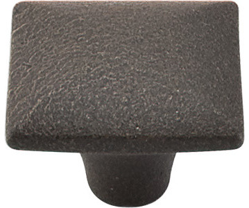 """Square Iron Knob Smooth 1 3/8"""" - Rust transitional-cabinet-and-drawer-knobs"""