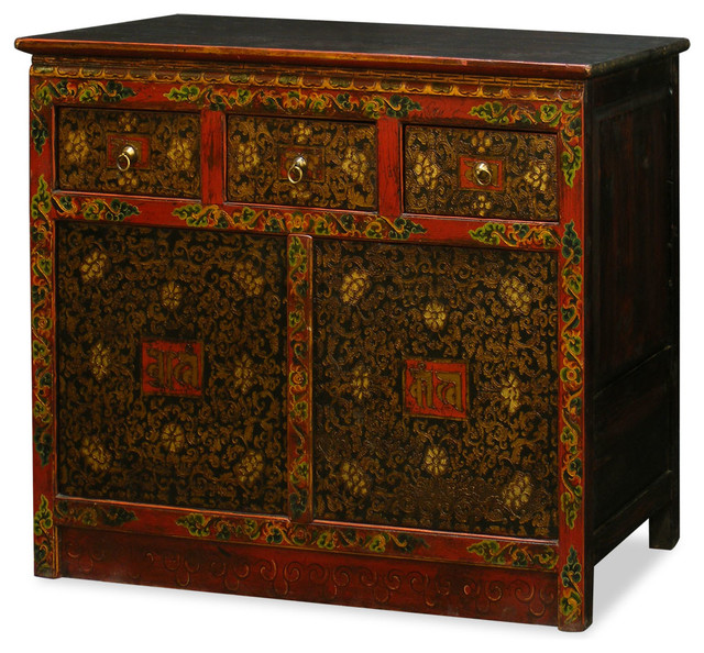 Hand painted tibetan cabinet asian furniture by for Hand painted oriental furniture