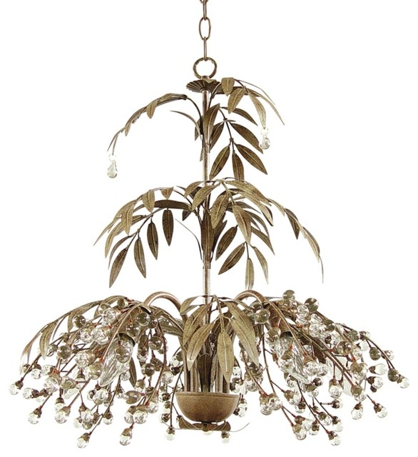 Iron Antique Brown Fountain Leaves Chandelier traditional-chandeliers