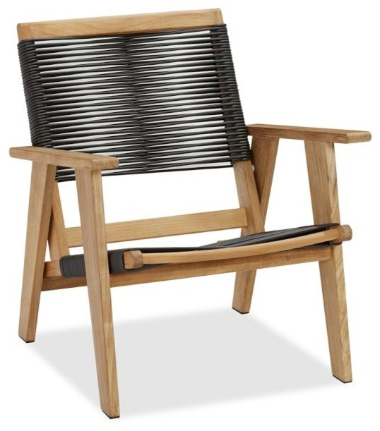Madera Teak Rope Armchair Modern Outdoor Lounge Chairs