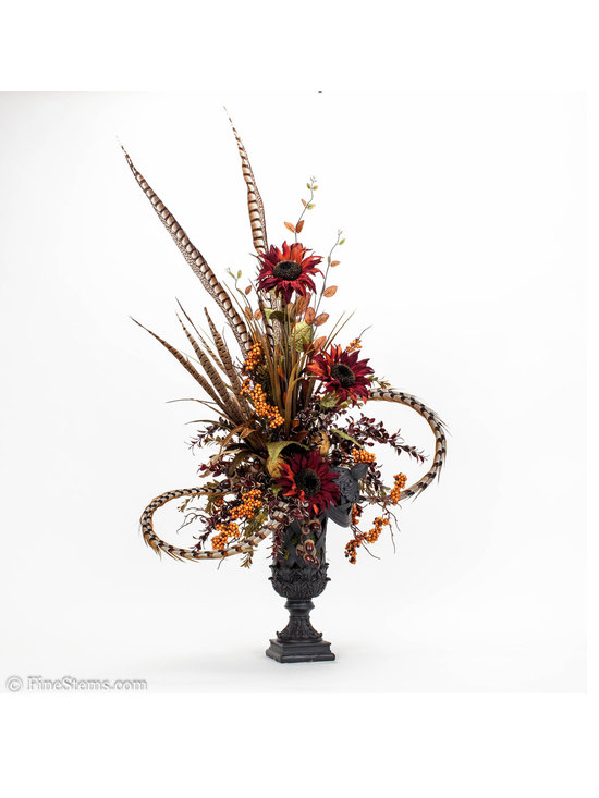 Sunflower in Black Urn - Get into the fall season with our fall home decor. Custom Burgundy, Sunflower Arrangement in black lidded urn.