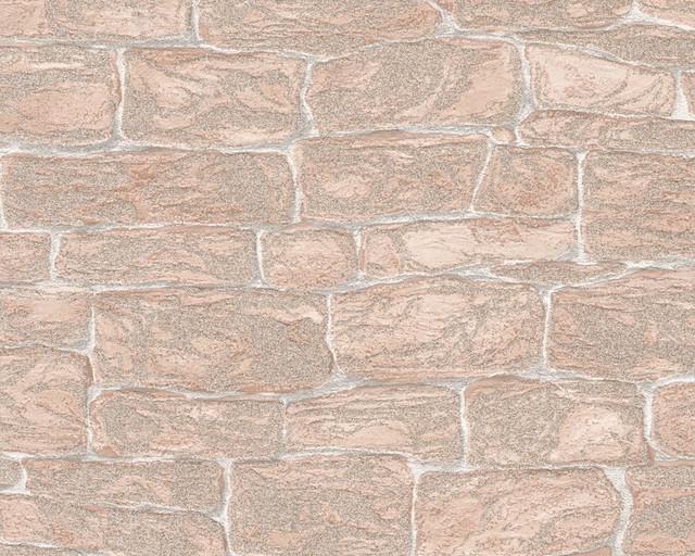 3438-26 Decora Natur 3 Wallpaper - Double Roll, Decor: Stone (With Golden Glitte contemporary-wallpaper