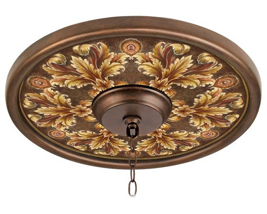 """Lamps Plus - Traditional Acanthus Noble Giclee 16"""" Wide Bronze Ceiling Medallion - This giclee pattern ceiling medallion transforms your existing fixture into a work of art. Its custom printed pattern on canvas is a reproduction of an artisan hand-painting. The giclee canvas is mounted on a 16"""" wide Valencia bronze finish medallion which is lightweight and installs easily to your ceiling with multi-purpose adhesive (not included). Polypropylene construction. Canopy and chain not included. Please note this is a custom made-to-order piece; please allow 7 to 10 days for your medallion to be created. Valencia bronze finish. Acanthus Noble pattern. Polypropylene construction. Giclee canvas. Lightweight and easy to install. Adhesive not included. 16"""" wide. 4"""" center opening.  Valencia bronze finish.   Acanthus Noble pattern.   Polypropylene construction.   Giclee canvas.   Lightweight and easy to install.   Adhesive not included.   16"""" wide.   4"""" center opening."""
