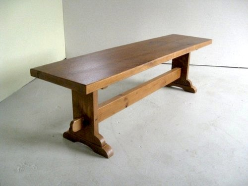 Thick Oak Bench With Trestle Base Farmhouse Dining Benches Boston