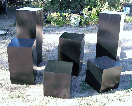 garden pedestals - metal garden art pedestals, 13 inches square, shor,t 14 inches tall, medium, 28 inches tall, and large, 36 inches tall. black finish