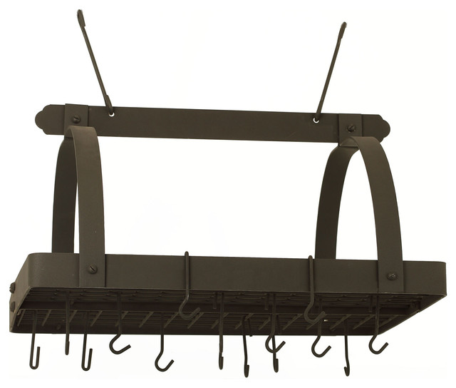 Graphite Pot Rack w/Grid & 24  Hooks traditional-pot-racks