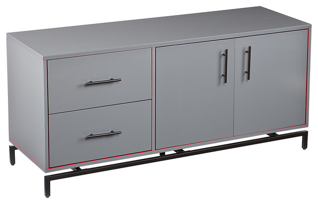 Mahlias Media Console Grey - Contemporary - Entertainment Centers And Tv Stands - by SmartFurniture