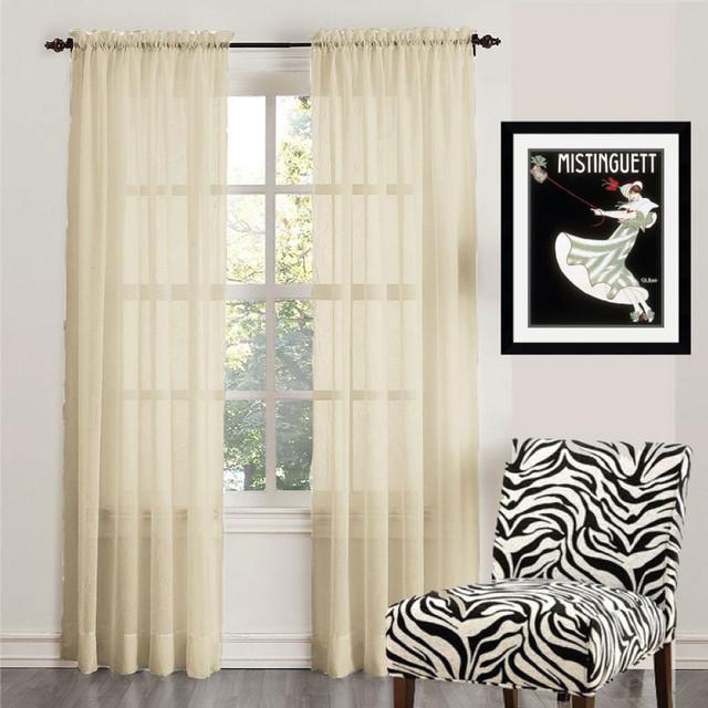 ORGANZA Sheer Voile Rod Pocket Curtain Panel CREAM - Modern - Curtains ...