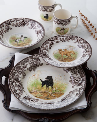 Spode Four Woodland Hunting Dog Salad Plates, Assorted traditional dinnerware