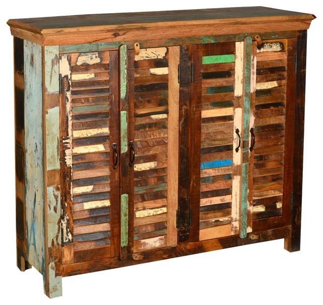 Tyndall Distressed Reclaimed Wood Slat Sideboard Buffet eclectic-buffets-and-sideboards