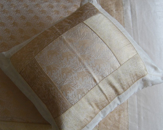 Cream/Gold Indian Bedspread Set - 5 Piece Indian Bedspread set. Cream and Gold with Elephant design and silk brocade border