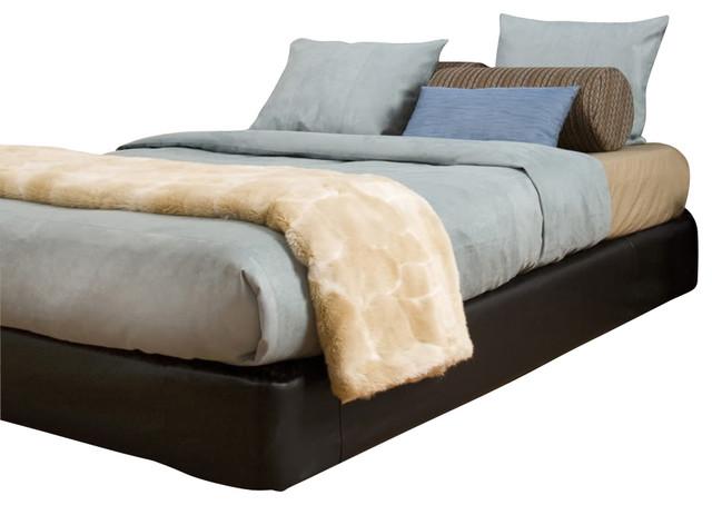 Black Faux Leather King Platform Bedroom Set (Kit and Cover) contemporary-platform-beds