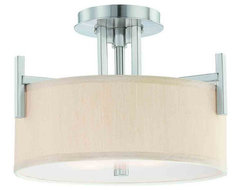 Dolan Designs 2945-09 Tecido Satin Nickel Semi-Flush Mount contemporary bathroom lighting and vanity lighting