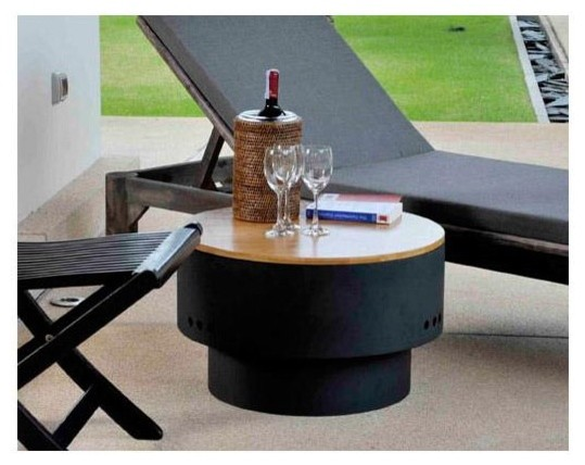 Fire Sense HotSpot Solid Base Revolver Fire Pit with Wooden Top contemporary-fire-pits