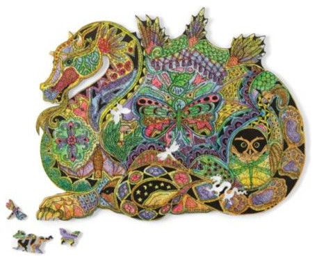 Woodcut Dragon Puzzle asian kids toys