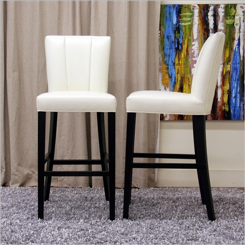 baxton studio janvier modern leather bar stool in off white modern bar stools and counter stools. Black Bedroom Furniture Sets. Home Design Ideas