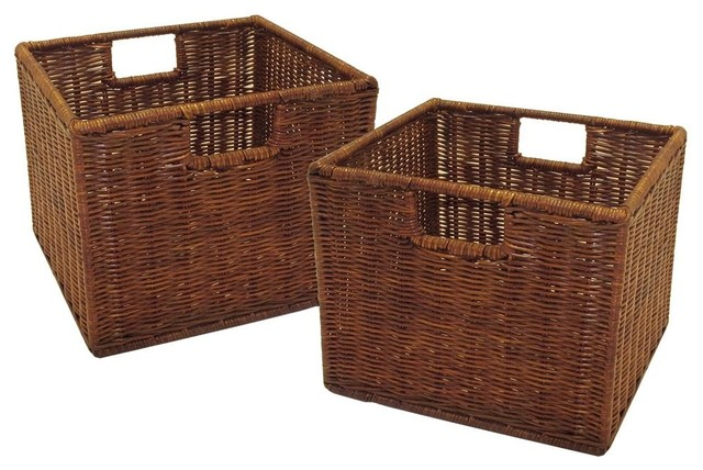 Decorative Boxes For Photo Storage : Small storage baskets set of contemporary