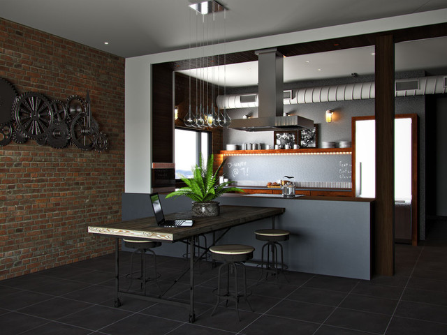 Rustic Industrial Kitchen - Contemporary - Rendering - by Kitchens.com