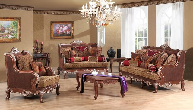 Grand Luxe Luxury Living Room Sofa Set 3 Pieces Traditional Living Room Furniture Sets