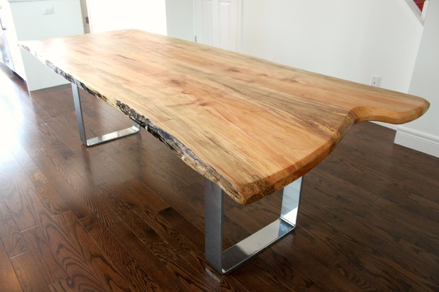 Live Edge Salvaged Silver Maple Harvest Table With Chrome