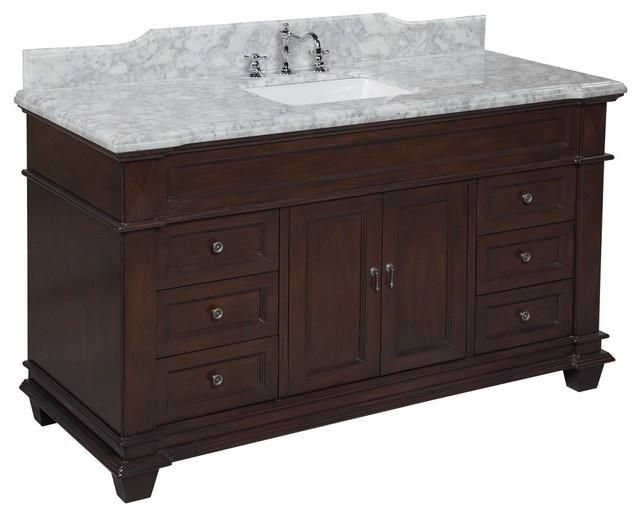 Elizabeth 60 In Single Sink Bath Vanity Carrara Chocolate Traditional Bathroom Vanities