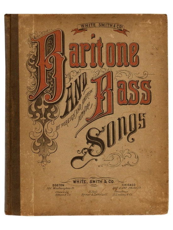 "Consigned, Baritone And Bass Songs, 1883 - Baritone And Bass Songs: The ""Welcome Favorite"", a New Collection Of Rural And Instrumental Music. by C.A White, Adams, Gilberts, Randegger, Keller, Deihl, Russell & C.  New York: White, Smith & Co., 1883.  First Edition.  211 pages.  Hardcover.Age appropriate wear to pages and binding."