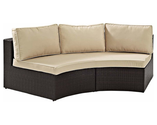Crosley - Catalina Outdoor Wicker Round Sectional Sofa With Sand Cushions - A generous dose of outdoor entertaining at its best. The Catalina Collection easily transforms any space into the ultimate patio destination. Plush piped cushions, deep seats, and modular design lend them- selves nicely to create an outdoor oasis right in your own backyard. All weather wicker is elegantly woven over durable steel powder coated frames and married with UV/fade resistant cushions to provide not only comfort but durability. Catalina's modular design allows you to craft the perfect size and shape for your individual space.