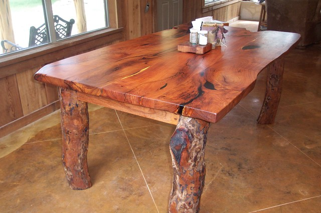 Rustin Live Edge Mesquite Table Traditional Dining
